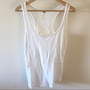Free People Racer Back Tank Top with Cutouts